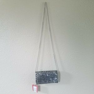 Mossimo Reverse Sequin Clutch Fold Removable Chain